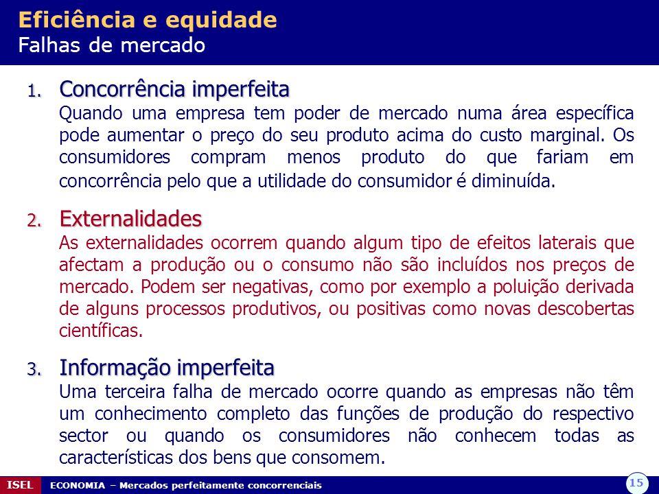 Eficiência e equidade Falhas de mercado