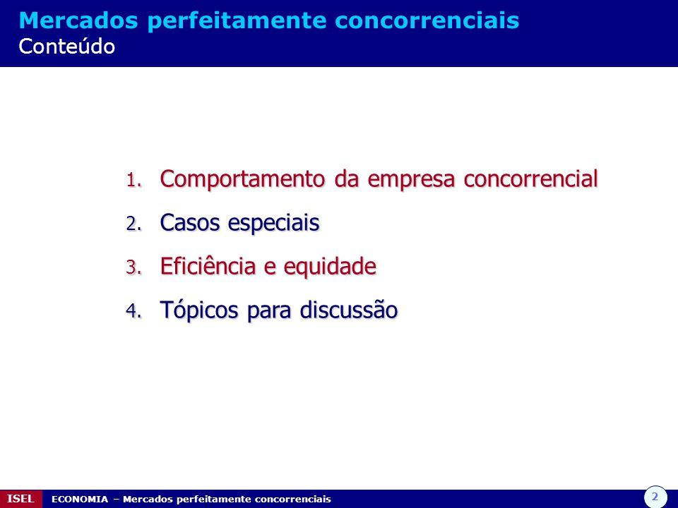 Comportamento da empresa concorrencial Casos especiais