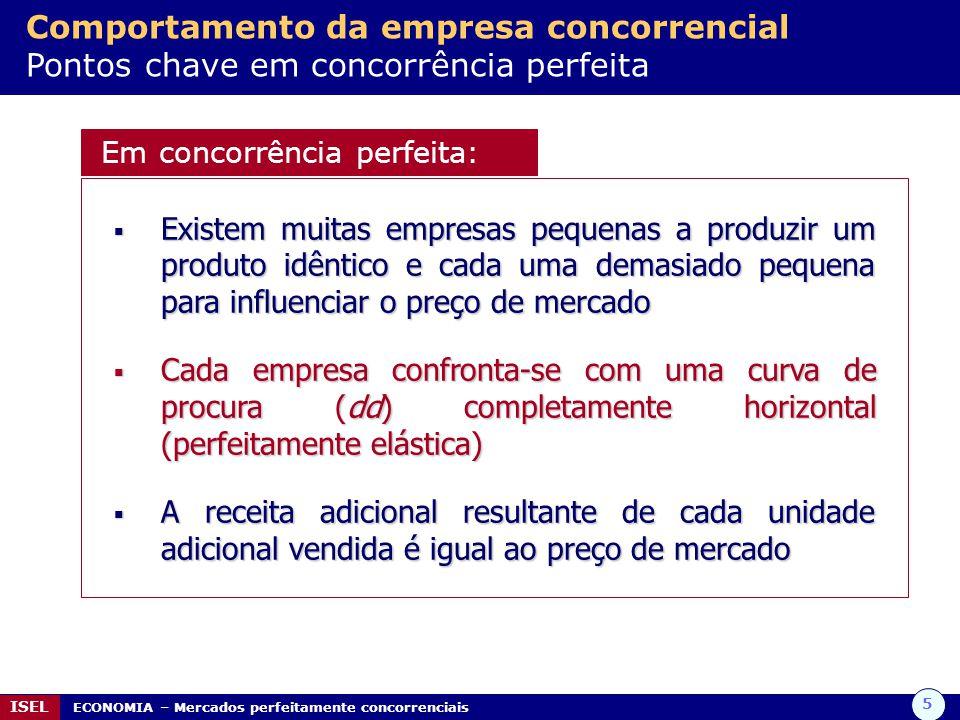 Comportamento da empresa concorrencial Pontos chave em concorrência perfeita