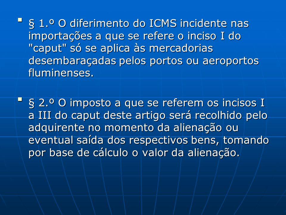 § 1.º O diferimento do ICMS incidente nas importações a que se refere o inciso I do caput só se aplica às mercadorias desembaraçadas pelos portos ou aeroportos fluminenses.