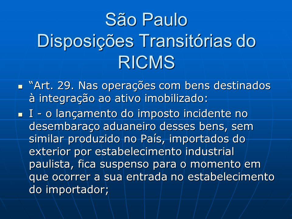 São Paulo Disposições Transitórias do RICMS
