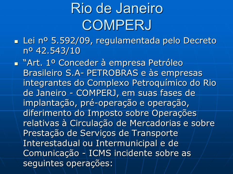 Rio de Janeiro COMPERJ Lei nº 5.592/09, regulamentada pelo Decreto nº 42.543/10.