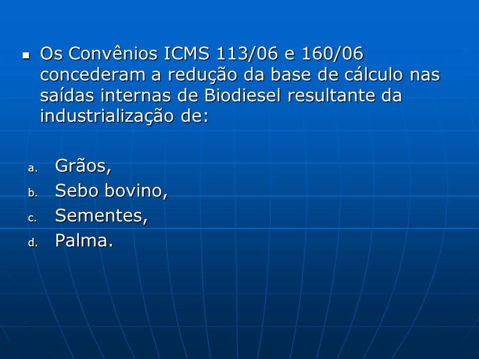 Os Convênios ICMS 113/06 e 160/06 concederam a redução da base de cálculo nas saídas internas de Biodiesel resultante da industrialização de: