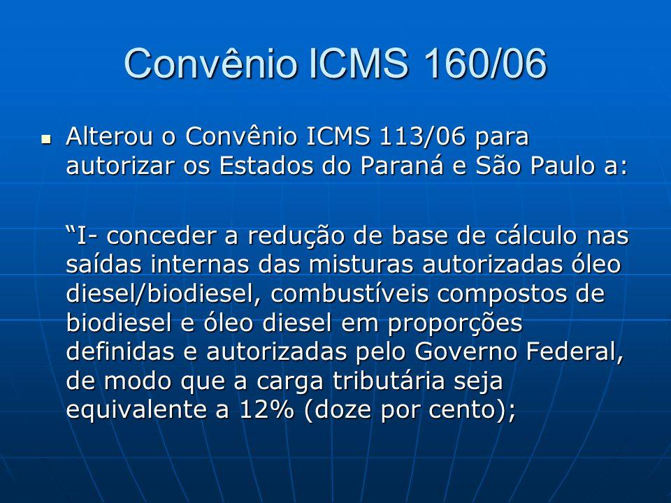 Convênio ICMS 160/06 Alterou o Convênio ICMS 113/06 para autorizar os Estados do Paraná e São Paulo a: