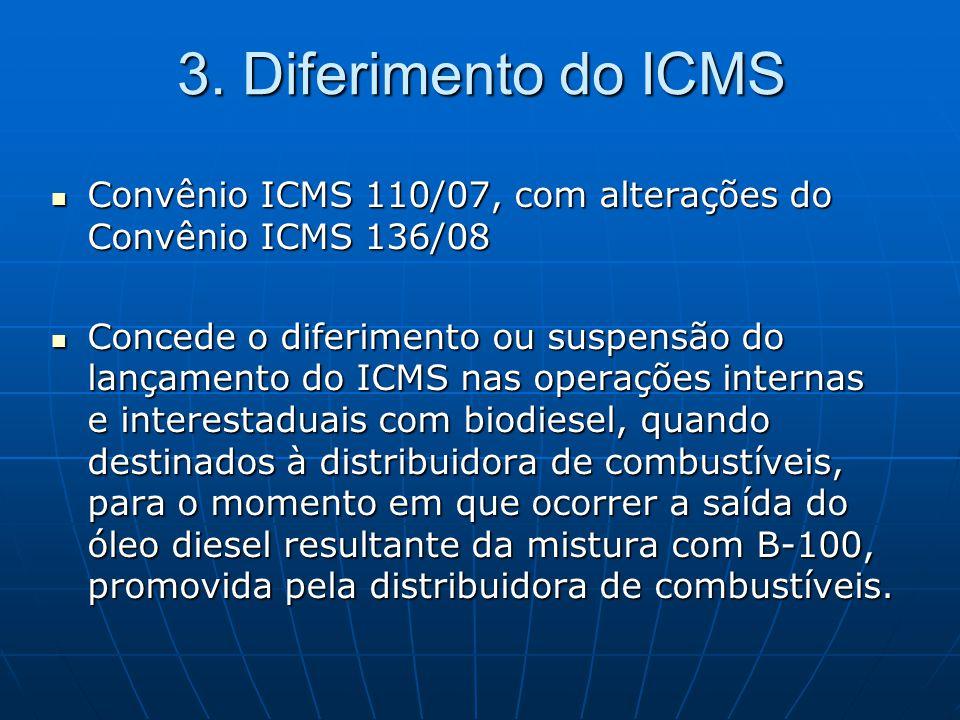 3. Diferimento do ICMS Convênio ICMS 110/07, com alterações do Convênio ICMS 136/08.
