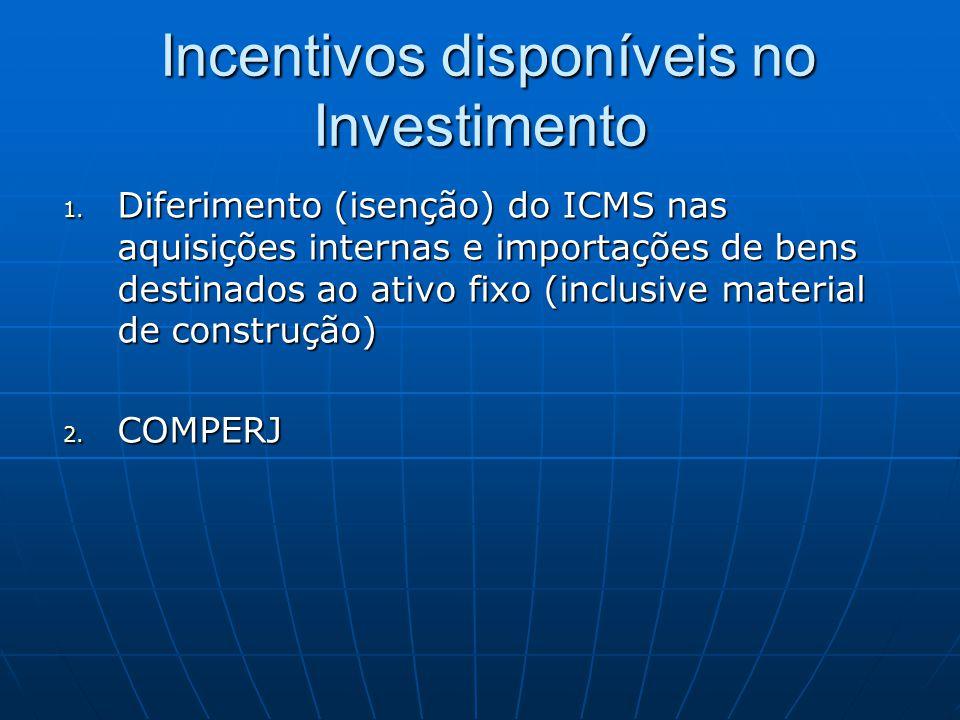 Incentivos disponíveis no Investimento