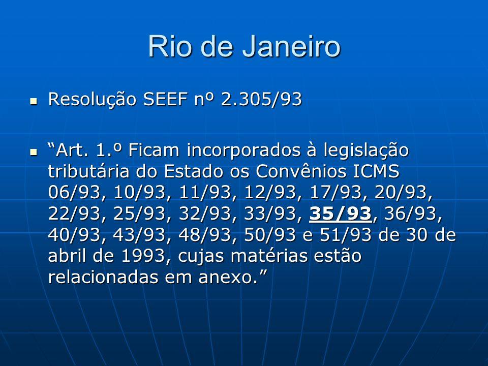 Rio de Janeiro Resolução SEEF nº 2.305/93