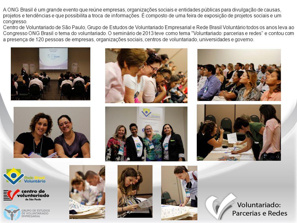 A ONG Brasil é um grande evento que reúne empresas, organizações sociais e entidades públicas para divulgação de causas, projetos e tendências e que possibilita a troca de informações. É composto de uma feira de exposição de projetos sociais e um congresso.