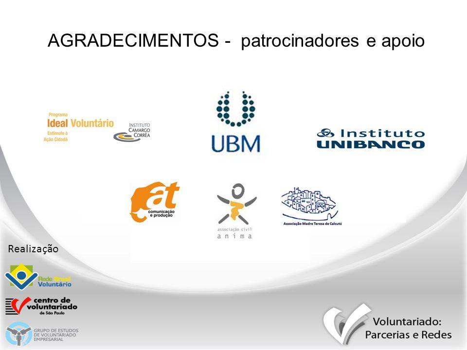 AGRADECIMENTOS - patrocinadores e apoio