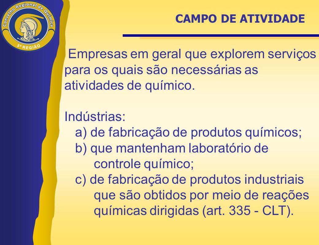 a) de fabricação de produtos químicos;