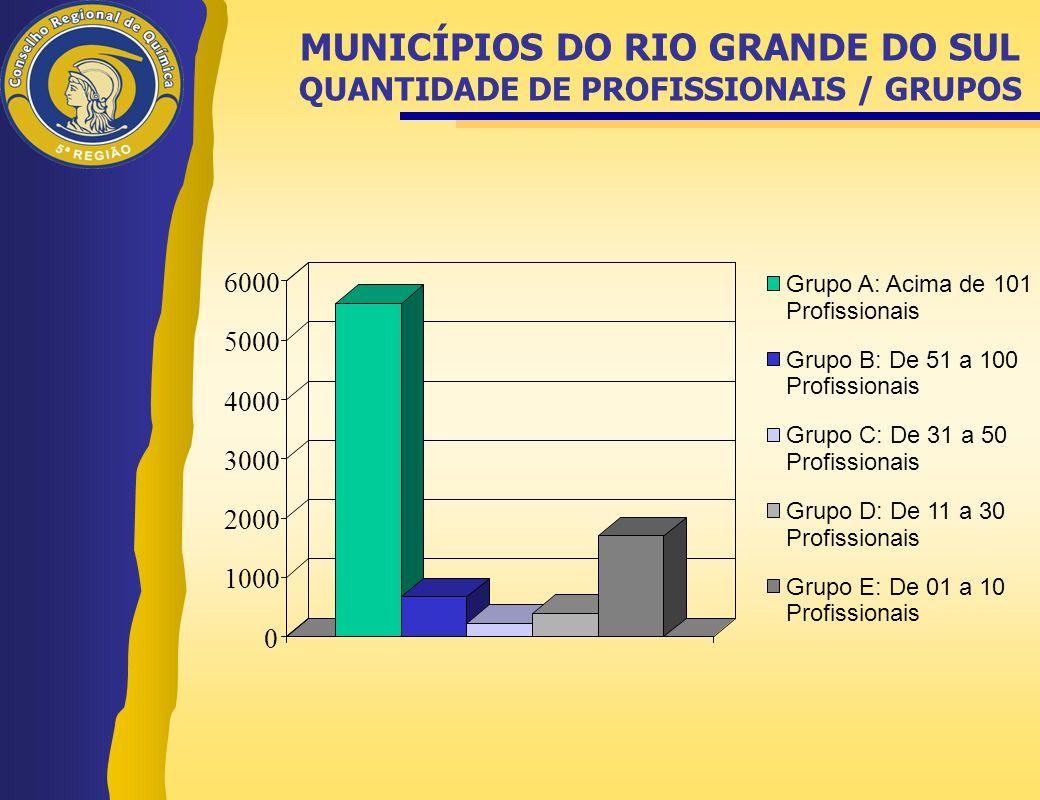 MUNICÍPIOS DO RIO GRANDE DO SUL QUANTIDADE DE PROFISSIONAIS / GRUPOS
