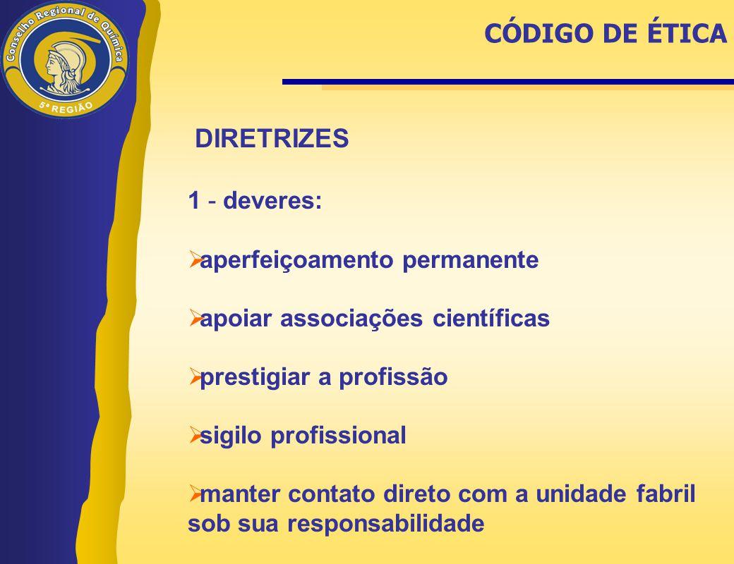 CÓDIGO DE ÉTICA DIRETRIZES 1 - deveres: aperfeiçoamento permanente