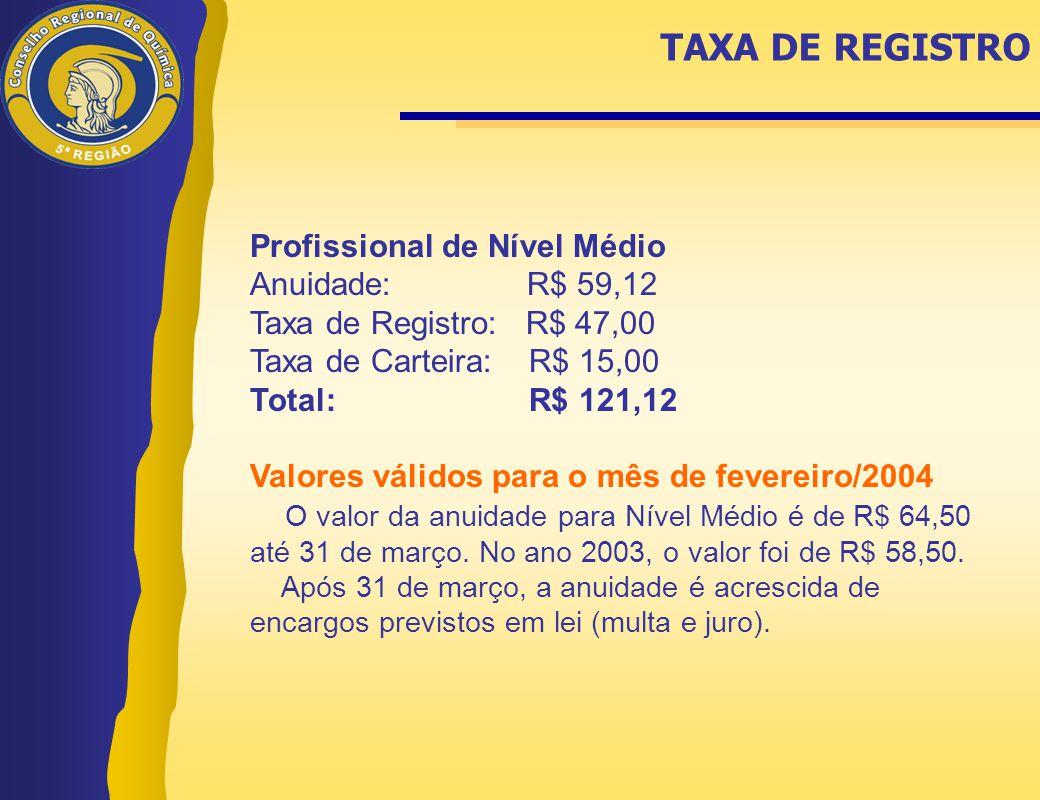 TAXA DE REGISTRO Profissional de Nível Médio Anuidade: R$ 59,12