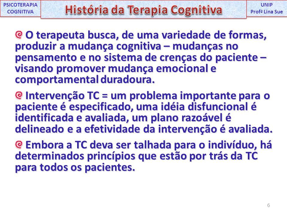 PSICOTERAPIA COGNITIVA História da Terapia Cognitiva