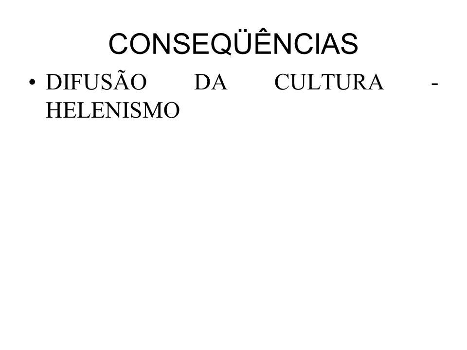 CONSEQÜÊNCIAS DIFUSÃO DA CULTURA - HELENISMO