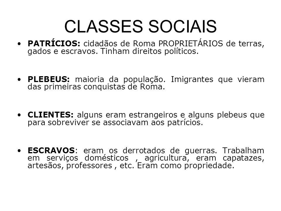 CLASSES SOCIAIS PATRÍCIOS: cidadãos de Roma PROPRIETÁRIOS de terras, gados e escravos. Tinham direitos políticos.