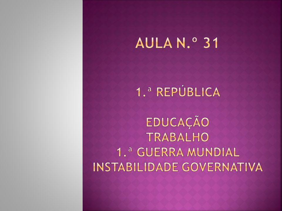 Aula n. º 31 1. ª República Educação Trabalho 1