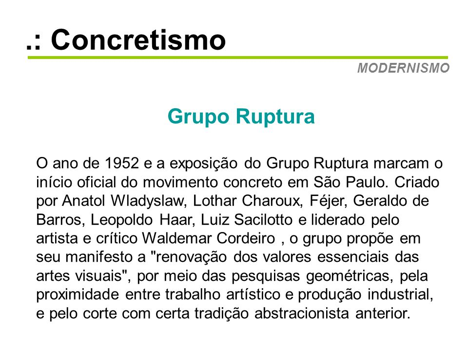 .: Concretismo Grupo Ruptura