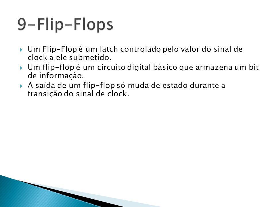 9-Flip-Flops Um Flip-Flop é um latch controlado pelo valor do sinal de clock a ele submetido.