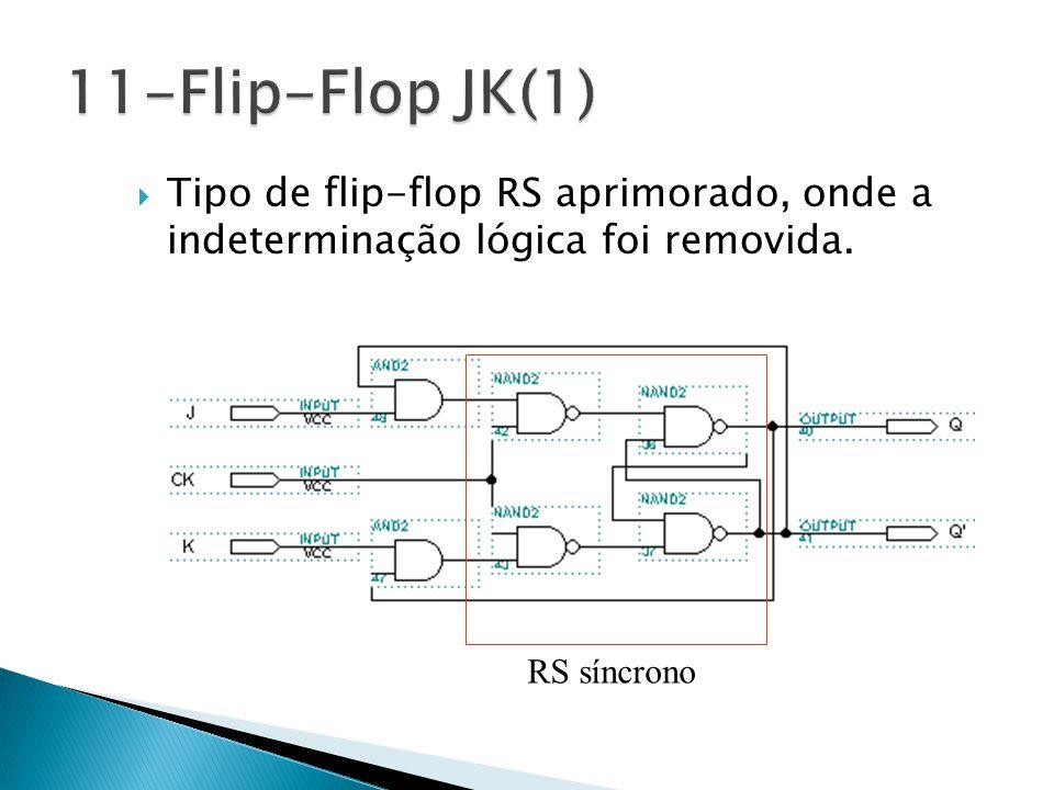 11-Flip-Flop JK(1) Tipo de flip-flop RS aprimorado, onde a indeterminação lógica foi removida.