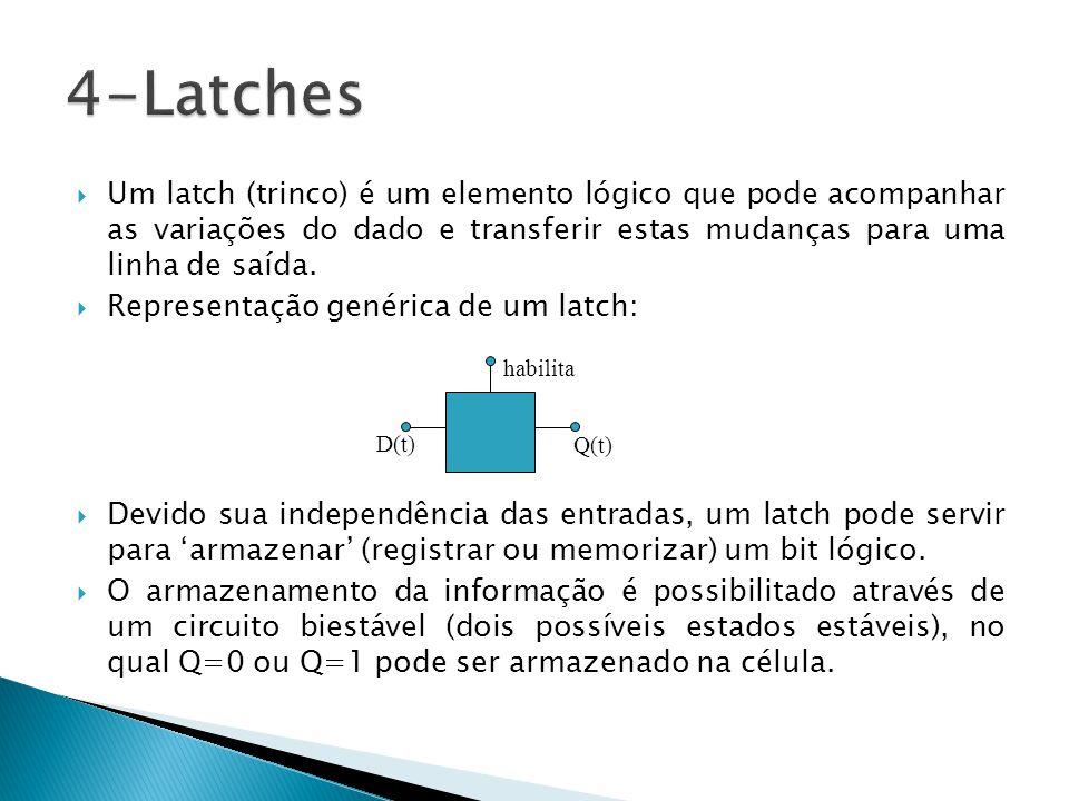 4-Latches Um latch (trinco) é um elemento lógico que pode acompanhar as variações do dado e transferir estas mudanças para uma linha de saída.