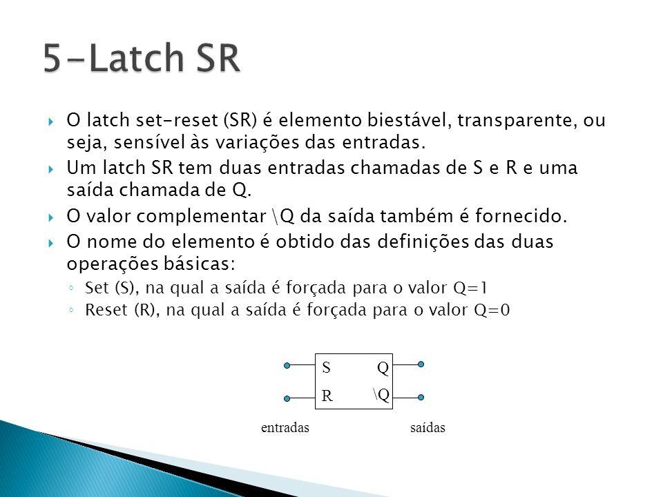 5-Latch SR O latch set-reset (SR) é elemento biestável, transparente, ou seja, sensível às variações das entradas.