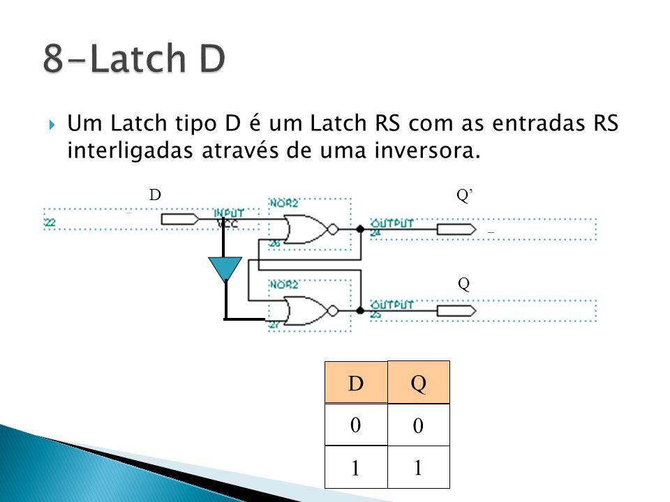 8-Latch D Um Latch tipo D é um Latch RS com as entradas RS interligadas através de uma inversora. D.