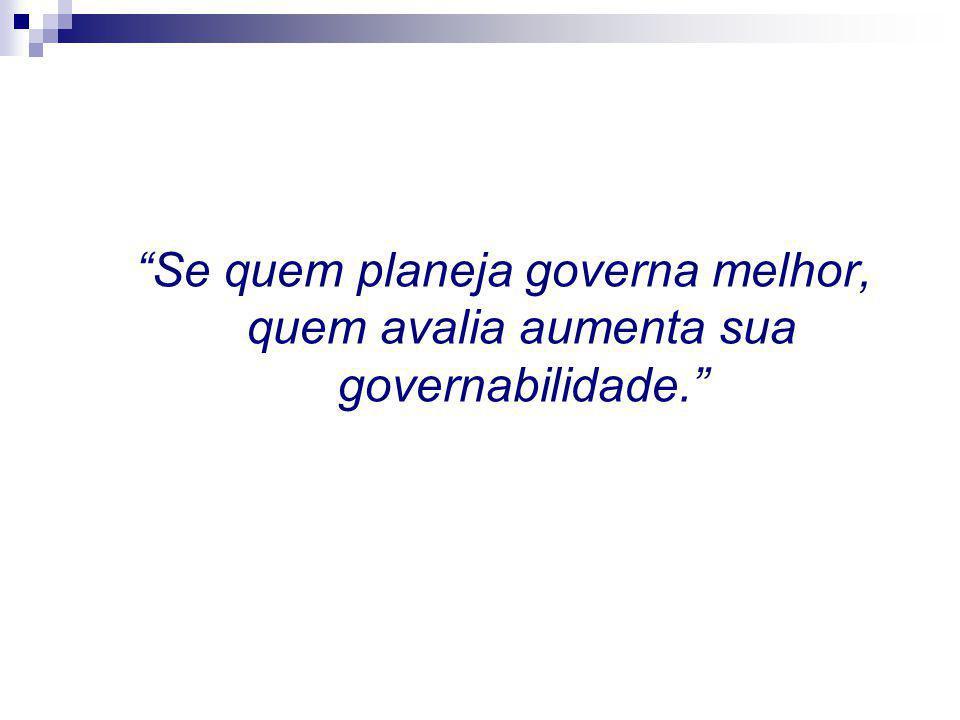 Se quem planeja governa melhor, quem avalia aumenta sua governabilidade.