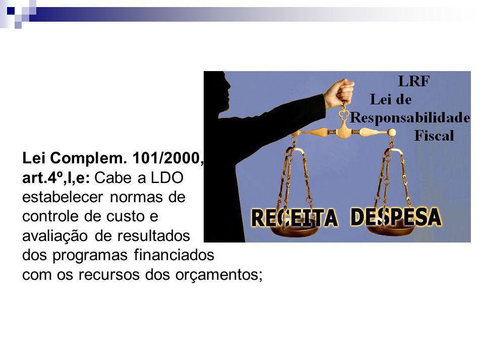 Lei Complem. 101/2000, art.4º,I,e: Cabe a LDO. estabelecer normas de. controle de custo e. avaliação de resultados.