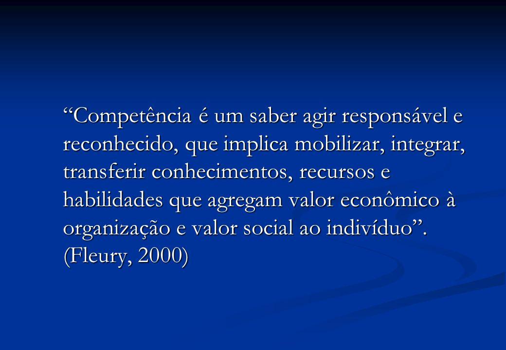 Competência é um saber agir responsável e reconhecido, que implica mobilizar, integrar, transferir conhecimentos, recursos e habilidades que agregam valor econômico à organização e valor social ao indivíduo .