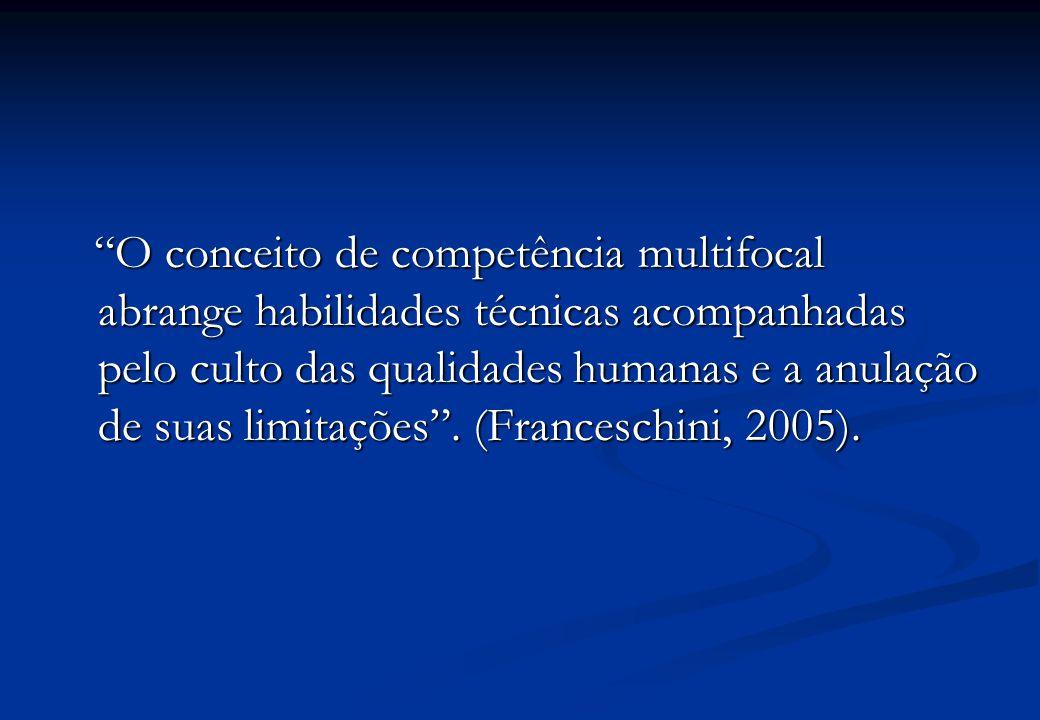 O conceito de competência multifocal abrange habilidades técnicas acompanhadas pelo culto das qualidades humanas e a anulação de suas limitações .