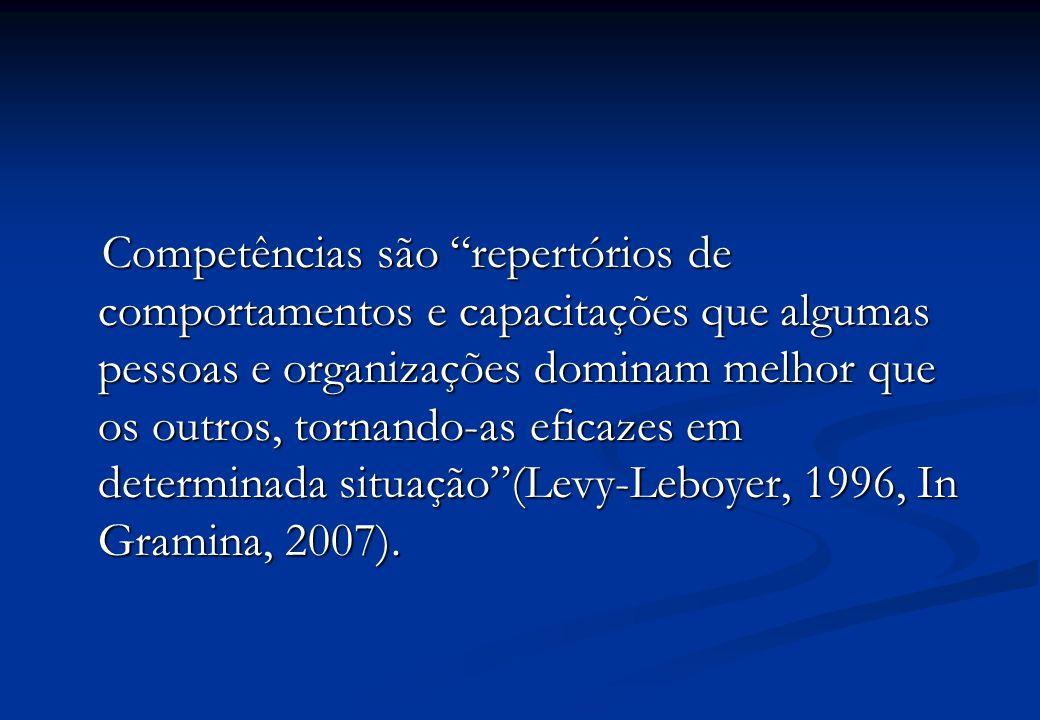 Competências são repertórios de comportamentos e capacitações que algumas pessoas e organizações dominam melhor que os outros, tornando-as eficazes em determinada situação (Levy-Leboyer, 1996, In Gramina, 2007).