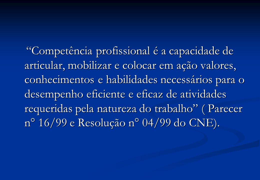 Competência profissional é a capacidade de articular, mobilizar e colocar em ação valores, conhecimentos e habilidades necessários para o desempenho eficiente e eficaz de atividades requeridas pela natureza do trabalho ( Parecer n° 16/99 e Resolução n° 04/99 do CNE).