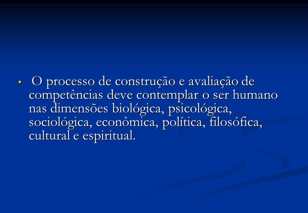 O processo de construção e avaliação de competências deve contemplar o ser humano nas dimensões biológica, psicológica, sociológica, econômica, política, filosófica, cultural e espiritual.