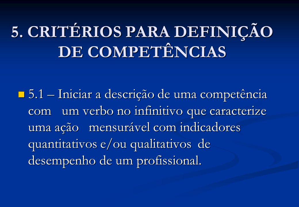 5. CRITÉRIOS PARA DEFINIÇÃO DE COMPETÊNCIAS