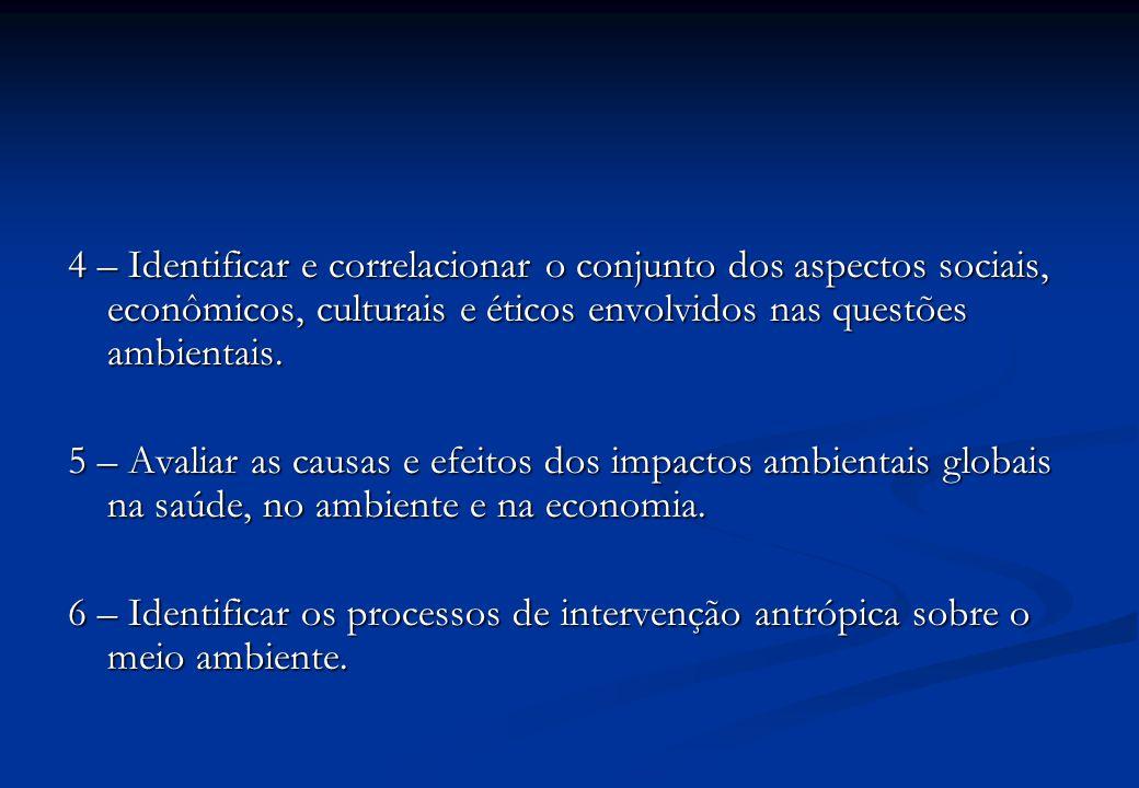 4 – Identificar e correlacionar o conjunto dos aspectos sociais, econômicos, culturais e éticos envolvidos nas questões ambientais.