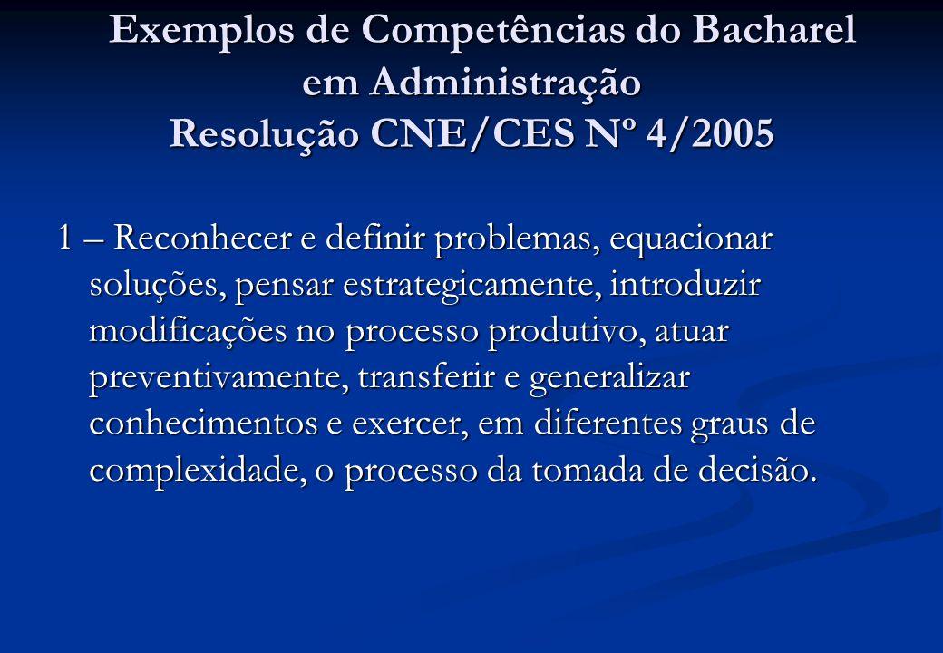 Exemplos de Competências do Bacharel em Administração Resolução CNE/CES Nº 4/2005