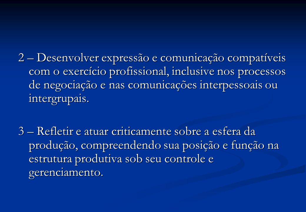 2 – Desenvolver expressão e comunicação compatíveis com o exercício profissional, inclusive nos processos de negociação e nas comunicações interpessoais ou intergrupais.
