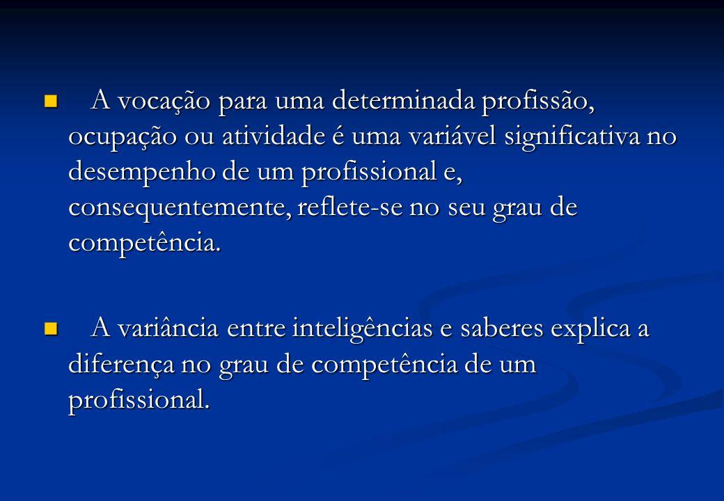 A vocação para uma determinada profissão, ocupação ou atividade é uma variável significativa no desempenho de um profissional e, consequentemente, reflete-se no seu grau de competência.