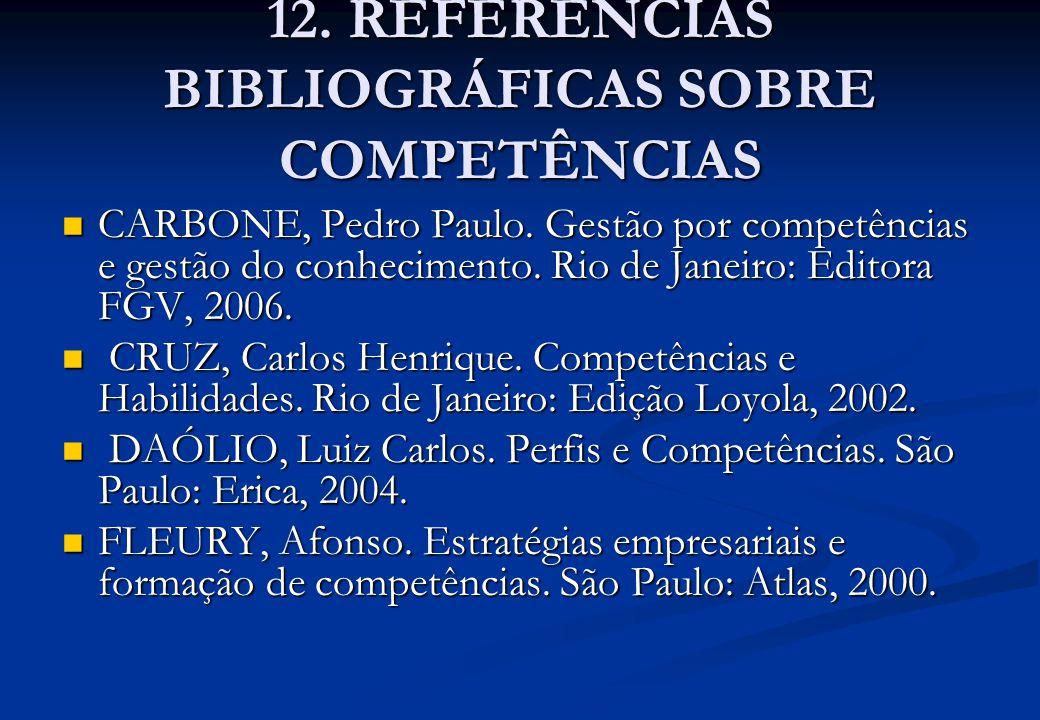 12. REFERÊNCIAS BIBLIOGRÁFICAS SOBRE COMPETÊNCIAS