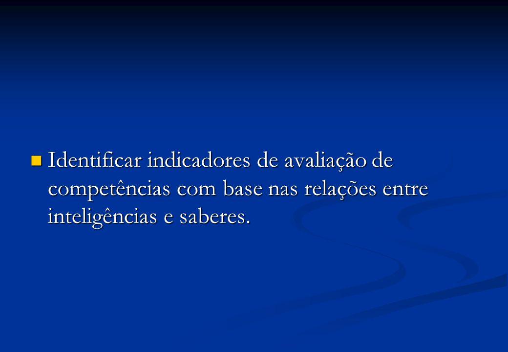 Identificar indicadores de avaliação de competências com base nas relações entre inteligências e saberes.