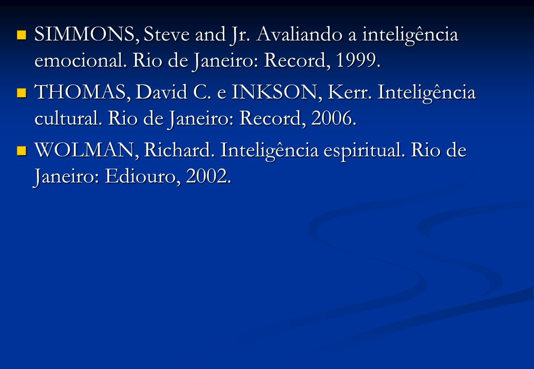 SIMMONS, Steve and Jr. Avaliando a inteligência emocional