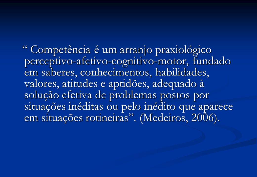 Competência é um arranjo praxiológico perceptivo-afetivo-cognitivo-motor, fundado em saberes, conhecimentos, habilidades, valores, atitudes e aptidões, adequado à solução efetiva de problemas postos por situações inéditas ou pelo inédito que aparece em situações rotineiras .