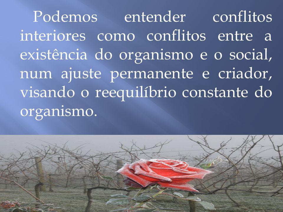 Podemos entender conflitos interiores como conflitos entre a existência do organismo e o social, num ajuste permanente e criador, visando o reequilíbrio constante do organismo.