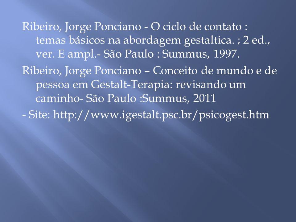 Ribeiro, Jorge Ponciano - O ciclo de contato : temas básicos na abordagem gestaltica. ; 2 ed., ver. E ampl.- São Paulo : Summus, 1997.