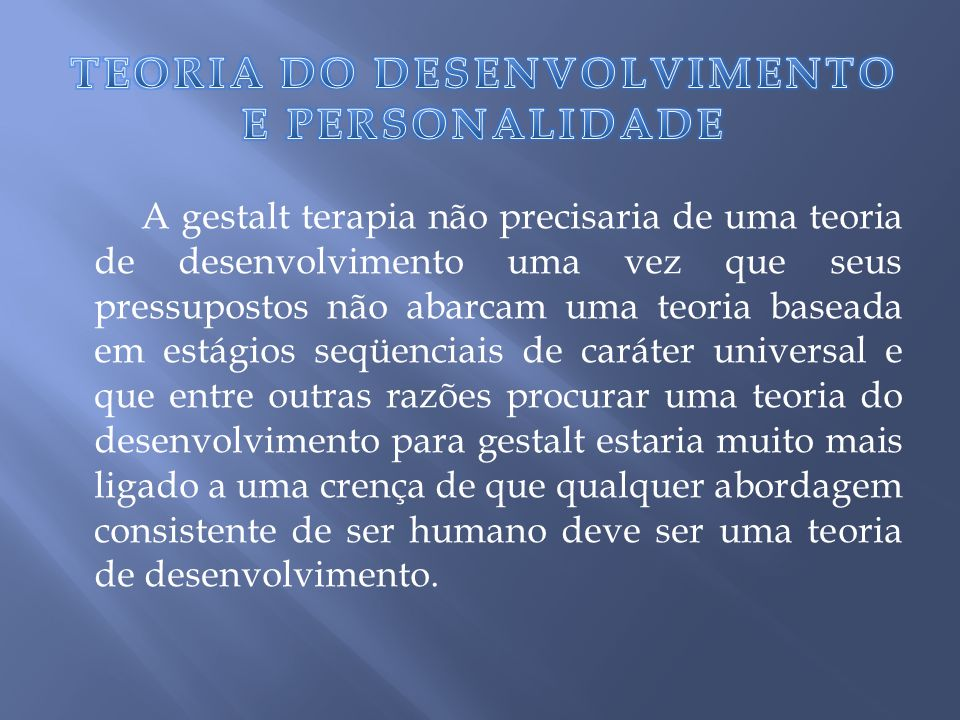 TEORIA DO DESENVOLVIMENTO