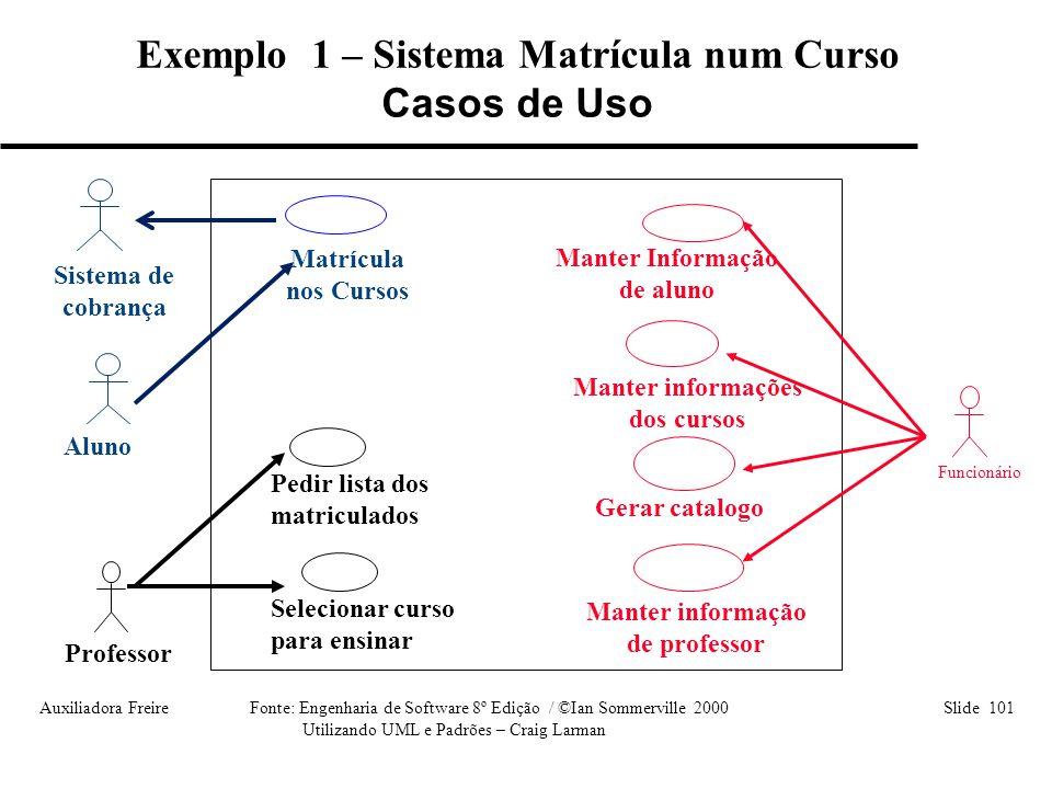 Exemplo 1 – Sistema Matrícula num Curso Casos de Uso