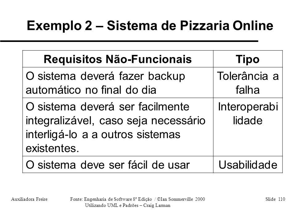 Exemplo 2 – Sistema de Pizzaria Online Requisitos Não-Funcionais
