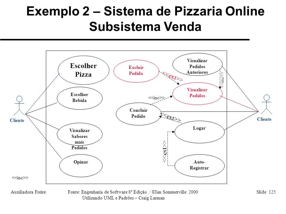 Exemplo 2 – Sistema de Pizzaria Online Subsistema Venda