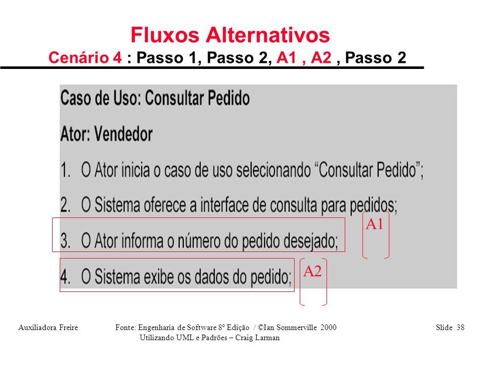 Fluxos Alternativos Cenário 4 : Passo 1, Passo 2, A1 , A2 , Passo 2